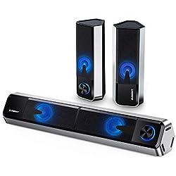 ELEGIANT Haut-Parleur Ordinateur Bluetooth 5.0, Barre de Son TV 10W Son Stéréo 2.0 Canal Enceintes PC Séparable Soundbar avec 4 Mode d'éclairage LED Réglables pour TV PC Ordinateur Home Cinéma