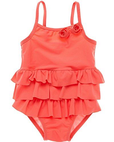 Sociala Mädchen Baby Badebekleidung Einteiler mit Höschen Rüschen spaghettiträger Ärmlos Einfarbig Schwimmanzug Orange 12-18 Monate