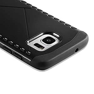 Celkase Thin Light Unique Durable Soft TPU Shock-Absorbing Bumper Scratch-Resistant Non-Slip Back Cover Case For Galaxy S7 Edge Case ( Black )