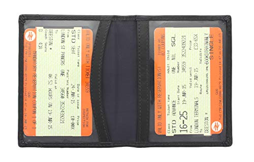 Portatarjeta de viaje, delgado y compacto, de cuero suave 10cm x 0,5cm. 2 Paneles transparentes para tarjetas fotográficas y billetes. Bolsillo exterior para recibos etc. Repujado con el logo Mala Leather. Detalle de costuras sobrepuestas contrastant...