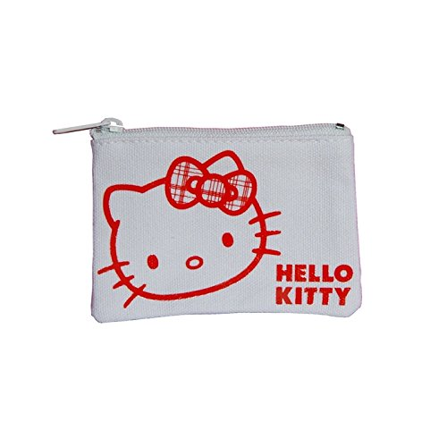 Hello Kitty Geldbörse flach Geldbeutel Check Ribbon weiss von Sanrio (Geldbeutel Checks)