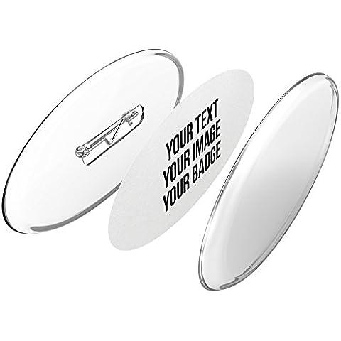 Hagase Vd. mismo sus Pins de forma oval (chapas de plástico) sin necesidad de máquina (Ø 77x31 mm, 10 piezas) - Conjunto de Pins ya previstos con alfiler y con papel-botón A4
