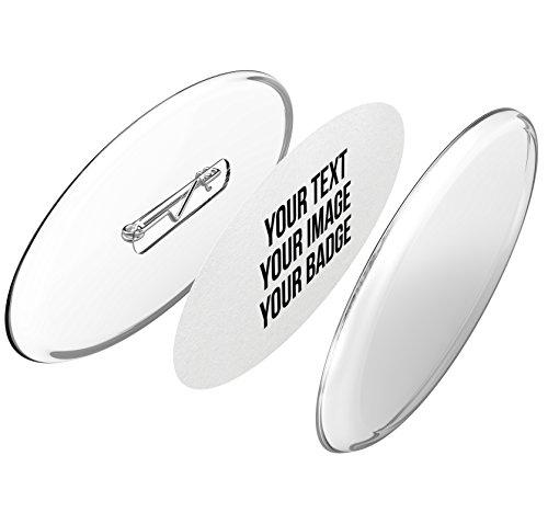 Buttons oval selber machen ohne Buttonmaschine (77x31mm, 25 Stück) - Ansteckbuttons Set mit Nadel-Pins und A4-Buttonpapier