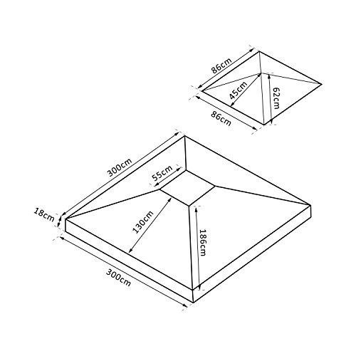 Outsunny Ersatzdach Dach für Metall Gartenpavillon Pavillon Partyzelt Gartenzelt 3x3m grün
