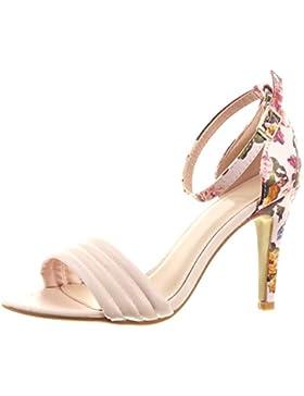 Sopily - Scarpe da Moda scarpe decollete Stiletto alla caviglia donna fiori Lines Tacco Stiletto tacco alto 9.5...