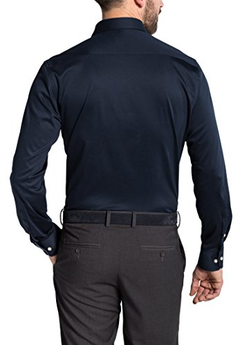 Eterna Long Sleeve Shirt Modern Fit Jersey Uni Blu marino