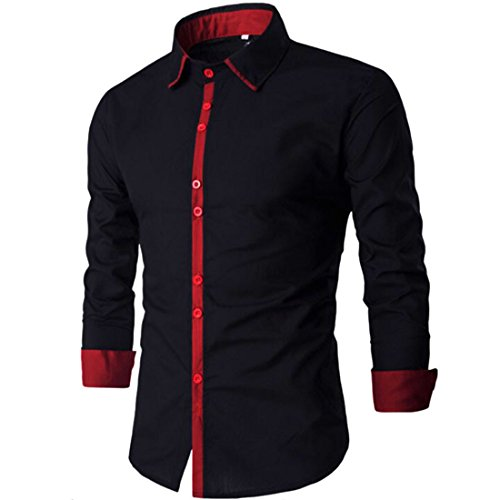 Men's Fashion Square Collar Long Sleeve Shirts Black Red