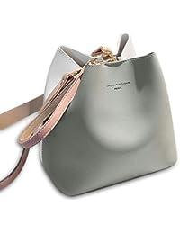 6c690868b97cf Aolvo 2 Stück Eimertasche für Mutter Farbe der Kollision Handtasche Damen  Einkaufstasche Umhängetasche Rucksack…