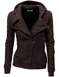 Dehutin Hooded Zip Up Sweatshirt For Women Fashion Warm Pullover For Winter