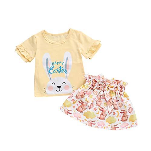 Outfit Ostern, Hffan Kleinkind Säugling Baby Mädchen Karikatur Hase Drucken Rüschen Tops Rock Outfits einstellen Mädchen Kinderbekleidung Kleider Set Kinder Kleidung Sommer Outfits