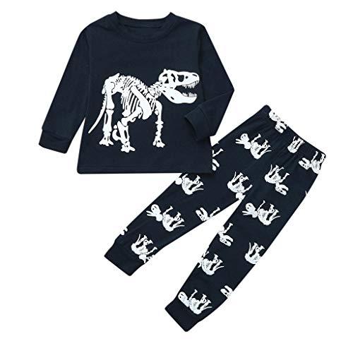 TTLOVE Junge Baumwolle Lange Ärmel T-Shirt Tops und Hosen Cartoon-Muster Dinosaurier Bekleidungsset Set (Dunkelblau A,(7T,6-7 Jahre)) - Cartoon Lange ärmel T-shirts