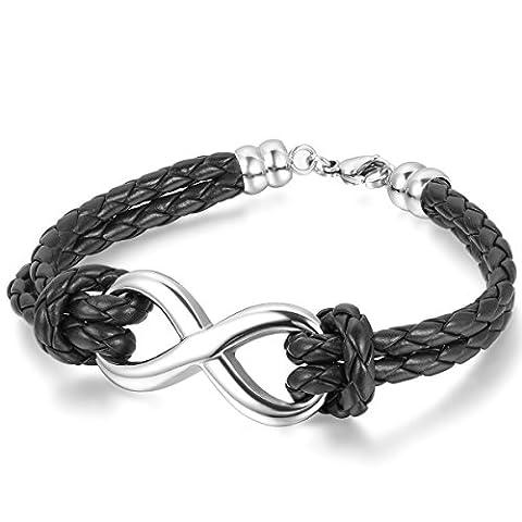 JewelryWe Infinity Love Charm Bangle Leather Stainless Steel Bracelet for Men Women, Black