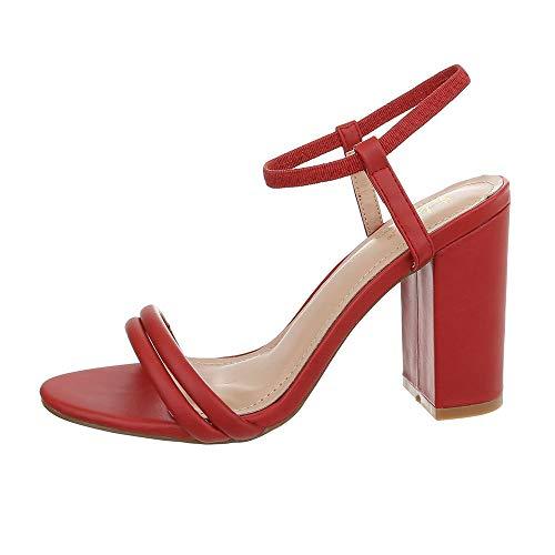 Ital-Design Damenschuhe Sandalen & Sandaletten High Heel Sandaletten Synthetik Rot Gr. 41 (Rote Glitzer High Heels)