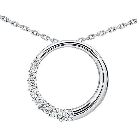 1/2 quilate diamante círculo colgante de viaje en 10 K oro blanco