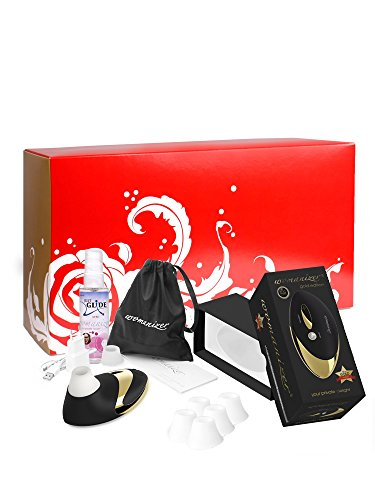 Womanizer Box: Womanizer Pro W500 GOLD EDITION + Gleitgel + 5 Ersatzbehandlungsköpfe