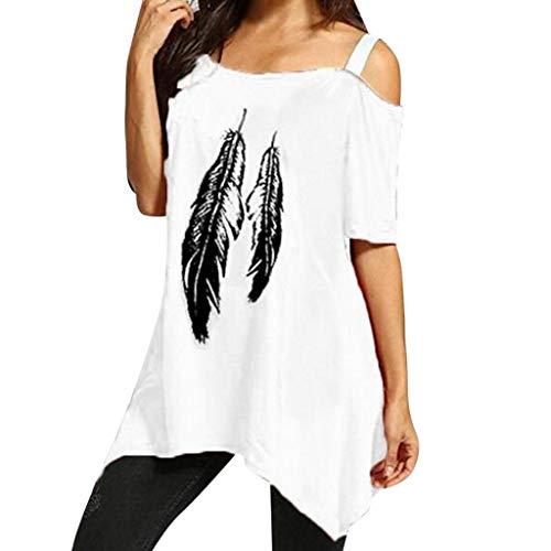 Amoyl Damen Sommert Shirt Feder Druck Eine Schulter übergroß  Unregelmäßiger Saum  Blusen Tunika Shirt Top (Weiß, M)