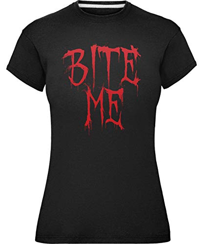 Damen Halloween Beißen Mich T-Shirt (XL (Größe 44), Dunkles ()