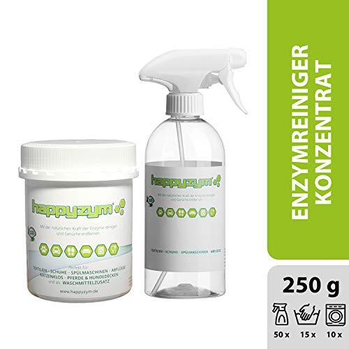 Happyzym Enzymreiniger 250g - ohne Duftstoffe gegen Gerüche, Flecken und Verschmutzungen für Haushalt, Gewerbe und Auto