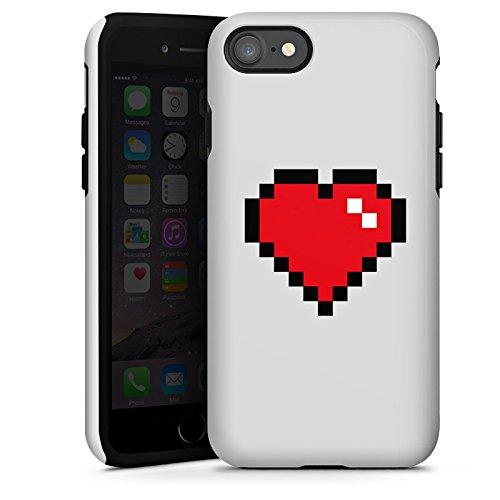 Apple iPhone X Silikon Hülle Case Schutzhülle 8-Bit Heart Herz Liebe Tough Case glänzend