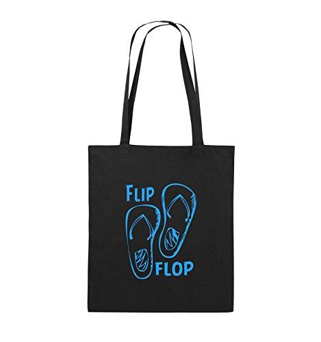 Comedy Bags - FLIP FLOP - SCHUHE - Jutebeutel - lange Henkel - 38x42cm - Farbe: Schwarz / Silber Schwarz / Blau