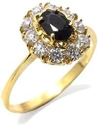 Gioie Bague Femme en Or 18 carats Jaune avec Saphir et Zircon Blanc