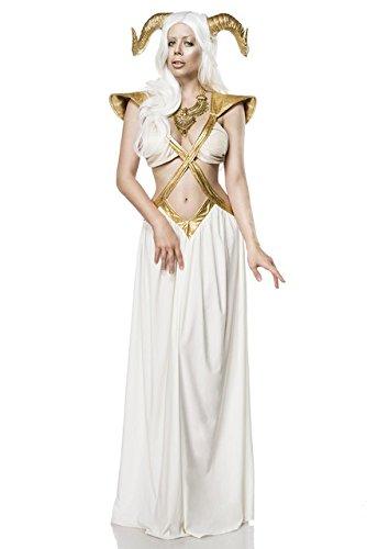 Sexy 3 tlg. Fee Zauberin Kostüm Game Damenkostüm Weiß Gold Thrones Hörner - Sexy Zauberin Kostüm