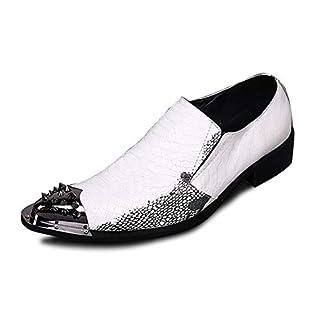 Rui Landed Oxford for Men Formelle Schuhe Slip On Style Premium Echtleder Geprägte Niedrige Metallspitze Mittlere Ferse Retro Atmungsaktiv Nachtclub (Color : Rivet, Größe : 46 EU)