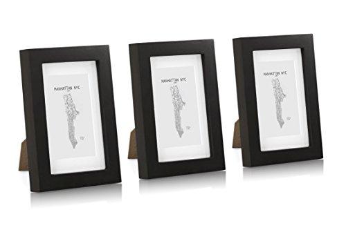 Echtholz Bilderrahmen 10x15 mit Glasscheibe - 3er Set - Schwarz - Mit Passepartout - Rahmenbreite 2cm!