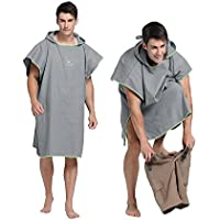 Changing Robe Towel Poncho with Hood for Surfing swimming Traje Changing, Compact & Light Weight, One size Fit All, gris
