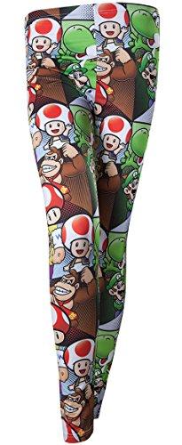 Nintendo Mario & Friends, Donkey Kong, Mushroom, Luigi Yoshi Leggings Women's Leggings Trousers XL