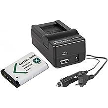 3in1Set 3-in-1per Sony DSC-HX400V fotocamera digitale–-- Batteria per SONY NP-BX1(1000mAh) + caricatore 4in 1(con USB/Micro-USB e da auto/auto) con PATONA Displaypad