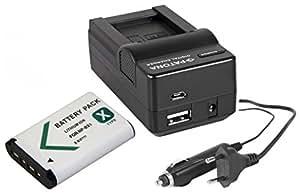 Set 2en 1pour Le Caméscope Sony pj410Full HD–- Batterie 1000mAh + Chargeur 4en 1(Entre Autres avec USB/Micro USB et Voiture/Auto