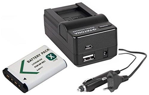 2in1-SET für den Sony HDR-PJ410 Full HD Camcorder --- Akku (1000mAh) + 4in1 Ladegerät (u.a. mit USB / micro-USB und Kfz/Auto)