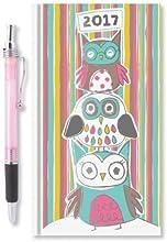 2017Slim semana para ver diario oficina en casa búhos y rayas diseños diarios y un bolígrafo ideal regalo