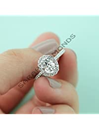 2.00 CT D/VVS1 Oval Diamond Engagement Wedding Halo Ring In 14k White Gold Over