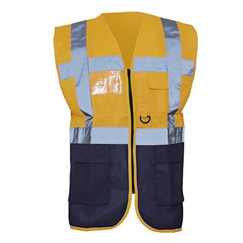 Yoko - Gilet Alta Visibilità Multi-Tasche (M) (Arancione/Blu Navy)
