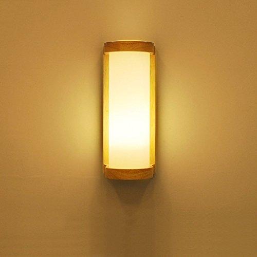 KYDJ Simple et moderne LED lampe de chevet mural Chambre Salon Balcon Entrée Porche en bois massif bois importé des lampes en verre givré Ombre E27 ( Couleur : 1/pcs )