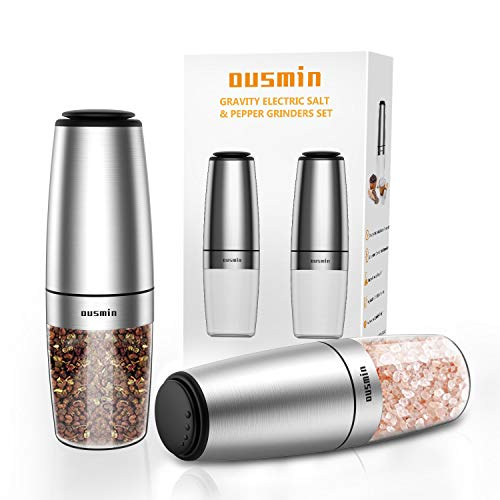 OUSMIN, New Eiditon 2020, Salz und Pfeffer Mühle Elektrisch mit Keramikmahlwerk I Elektrische Pfeffermühle und Salzmühle mit Neigungsinduktion I Gewürzmühle Salt and Pepper Mill (2er Set)