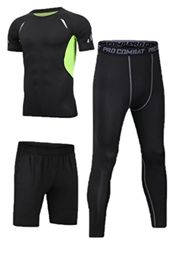 Men's Running Set,Gym Clothes Elastic Compression Tights Fitness Workout Sports Jogging Suits Sportswear 3/5 pcs