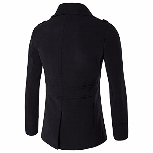 QIYUN.Z Hommes Double-Breasted Slim Fit Collier De Soutien-Gorge Mélange De Laine Manteau Noir