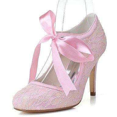 Wuyulunbi @ Chaussures Femme Tulle Satin Printemps Eté Pompe Base Chaussures De Mariage Talon Aiguille Talons Ronds Pour La Fête De Mariage Et Soirée Rose Bleu Rose