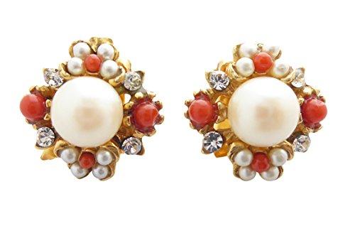 Dekorative Ohr-Clips weiße Perlen orange-rote Korallen kleine Strass-Steine Silber vergoldet Unikat Handarbeit aus Italien Retro Vintage Antik-Look - Kleine Rote Koralle