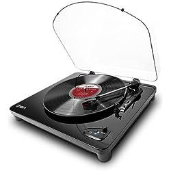 ION Audio Air LP - Platine Vinyle Bluetooth à Trois Vitesses avec Conversion USB - Finition Noir Brillant