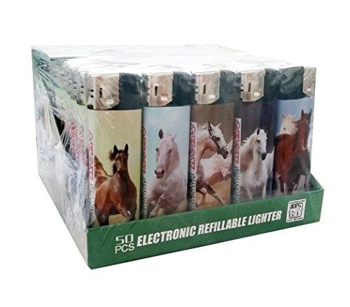 LUX Motiv Feuerzeug Horse Pferde 50 Stück Display Collie Kollie Tiere Horses Pferd