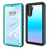 ODLICNO Huawei P30 Pro Hülle, IP68 Wasserdicht Stoßfest Staubdicht Schneefest Ultradünn Leicht Handyhülle Outdoor Unterwassergehäuse Full Body Schutzhülle für Huawei P30 Pro (Blau)