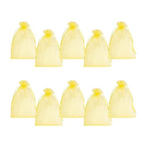 PandaHall Organza-Säckchen, transparent, Geschenksäckchen beispielsweise für Schmuck, Farben Gemischt, ca. 10 cm breit und 12 cm hoch,100 Stück 10x15CM gelb