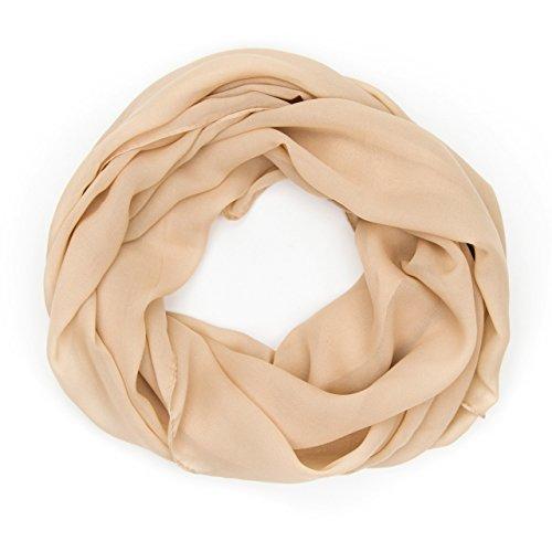 MANUMAR Loop-Schal für Damen einfarbig | feines Hals-Tuch in beige als perfektes Herbst Winter Accessoire | Schlauch-Schal | Damen-Schal | Rund-Schal | Geschenkidee für Frauen und Mädchen