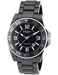 Rotary CEBBS/19 - Reloj analógico de cuarzo unisex con correa de cerámica, color negro