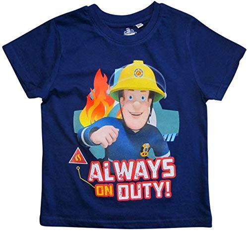 Feuerwehrmann Sam T-Shirt Jungen Rundhalsausschnitt (Blau, 110)
