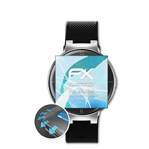 atFoliX Schutzfolie passend für Alcatel One Touch Watch Folie, ultraklare & Flexible FX Bildschirmschutzfolie (3X)